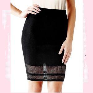 Guess Mesh Panel Black Bodycon Midi Knit Skirt M